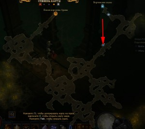 Карта расположения паука с гоблином в Пещерах Араны в игре Diablo 3